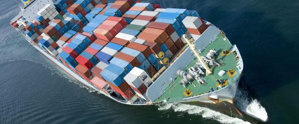 6187096 - an aerial view of a container ship.